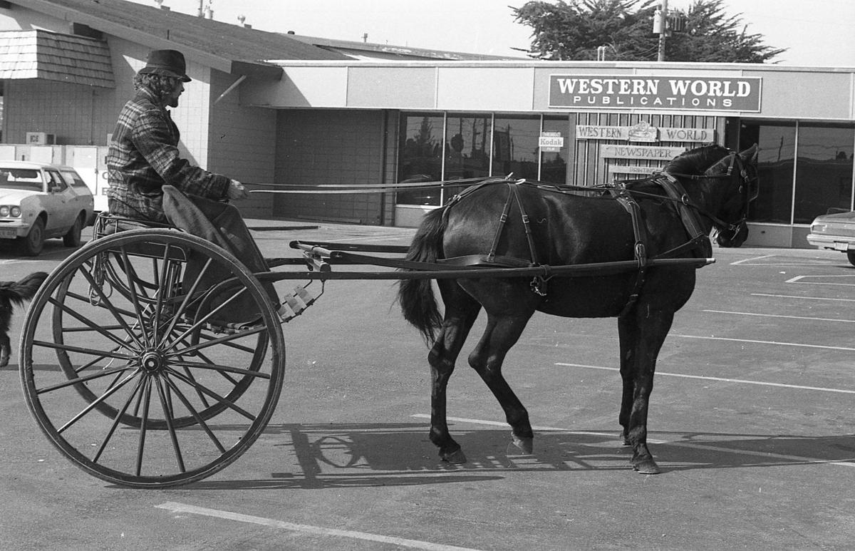 Horse and carriage in front of Western World office, 1981