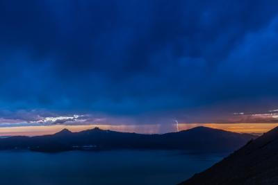 Lightening Storm at Dusk Over Crater Lake
