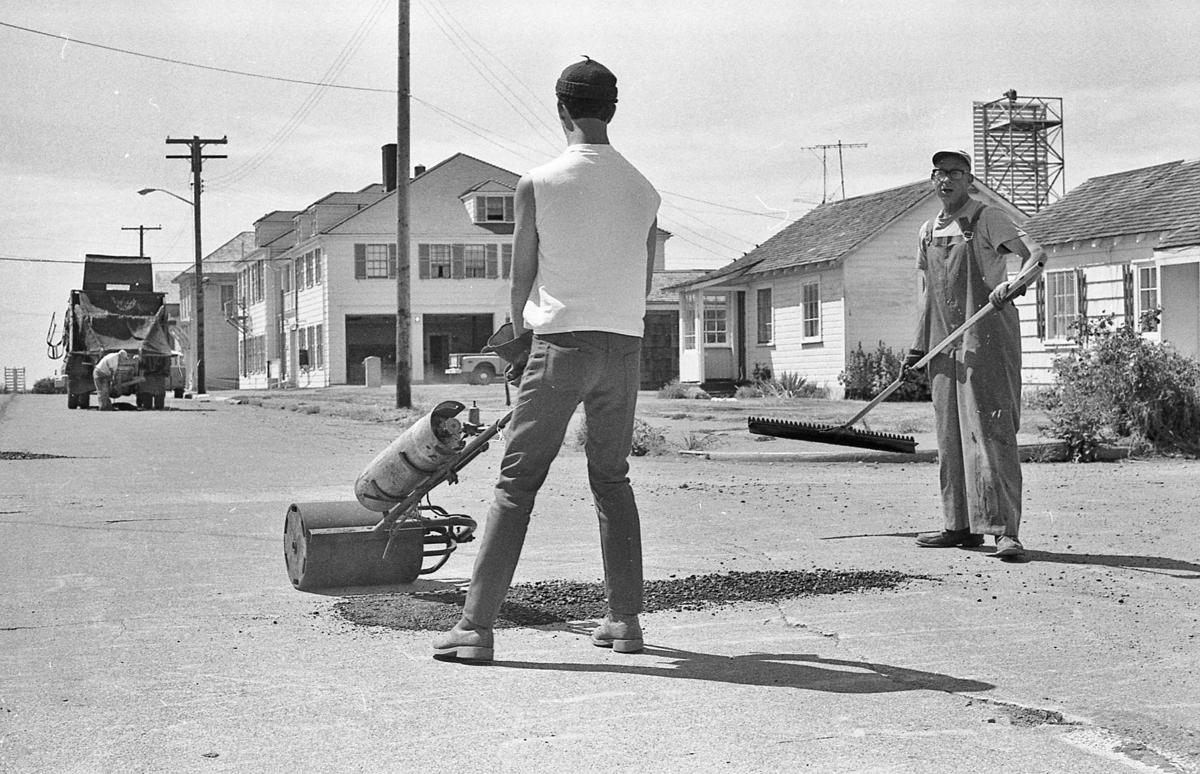 Bob Hiley patches streets for the city in 1970