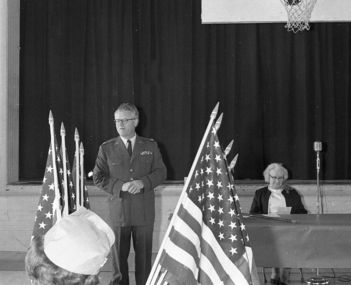 Retiring the flags ceremony, Ray Kelley, March 1970