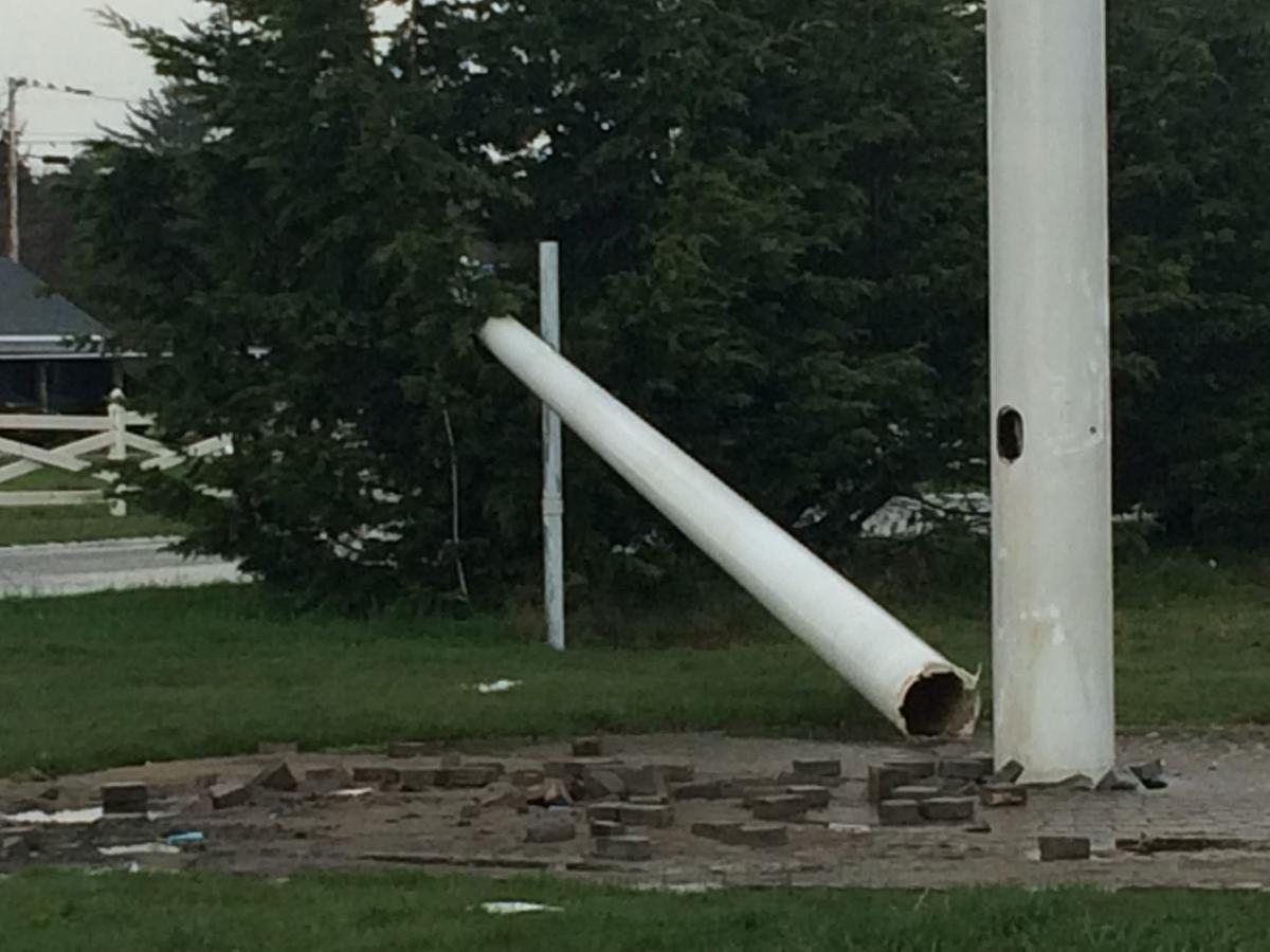 Bandon Fire Hall flagpole after lightning strike