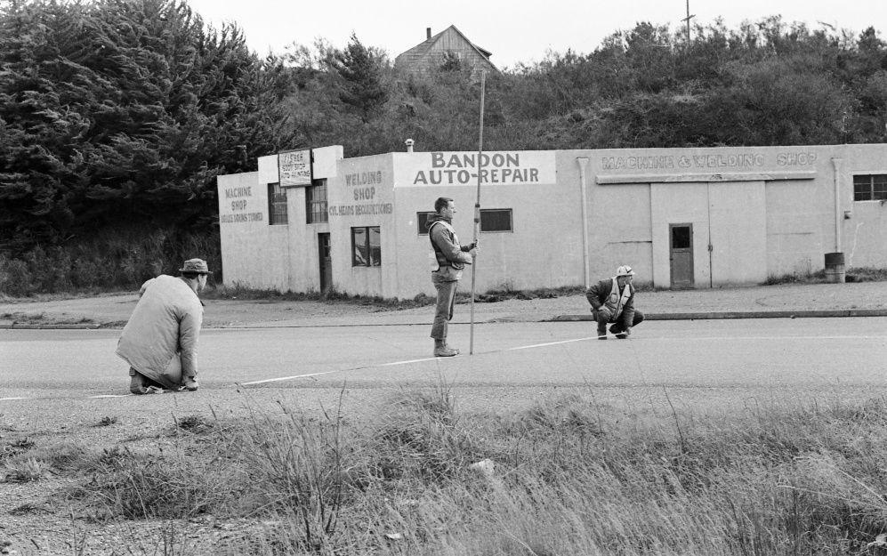 Surveyors on U.S. Highway 101, 1966