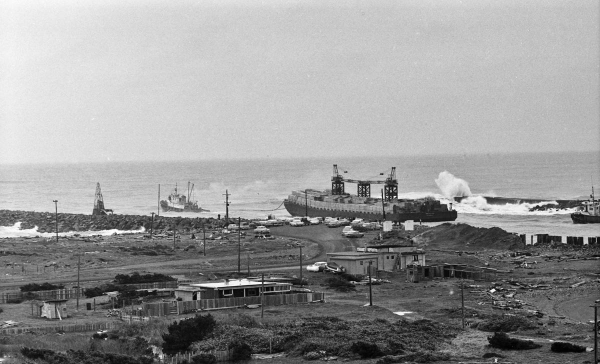 Lumber barge crossing the bar, Feb. 18, 1961