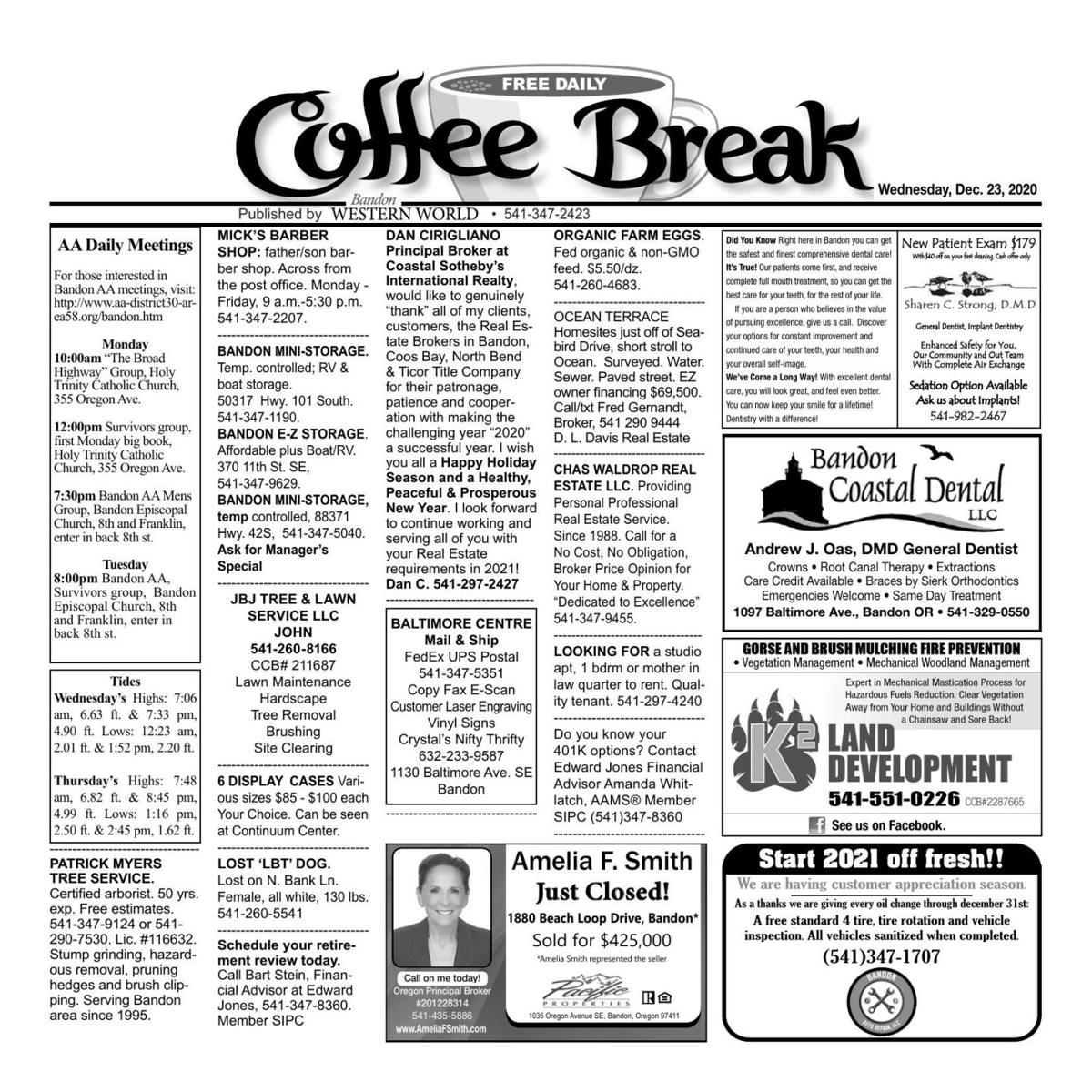 Dec. 23, 2020 Coffee Break