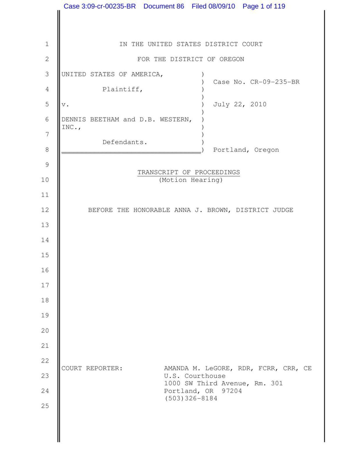 July 22, 2010 federal hearing transcript