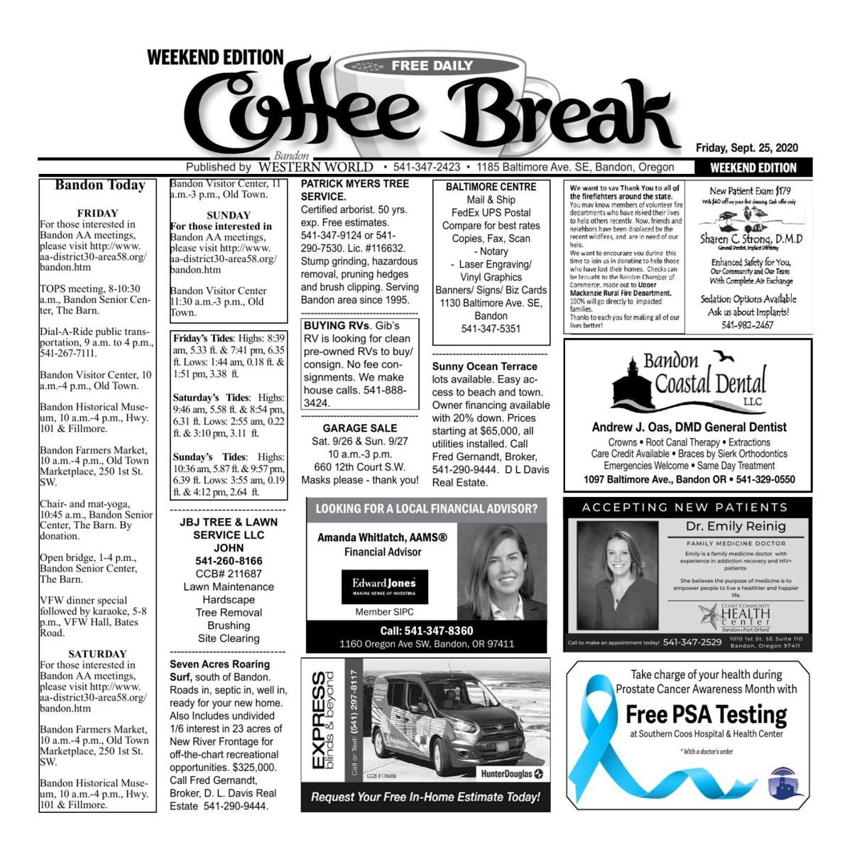 Sept. 25, 2020 Coffee Break