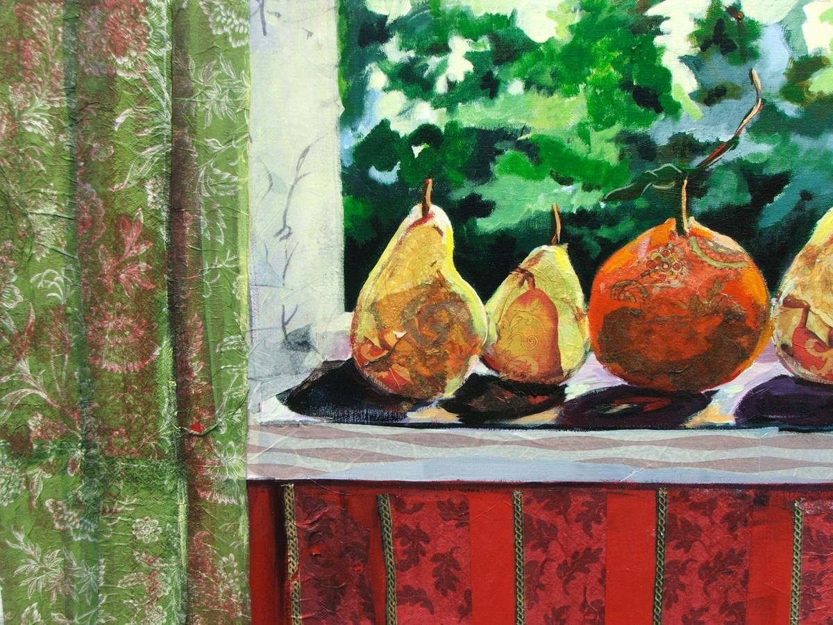 """""""Polly Ponders Pears"""" acrylic collage by Janne LaValle"""