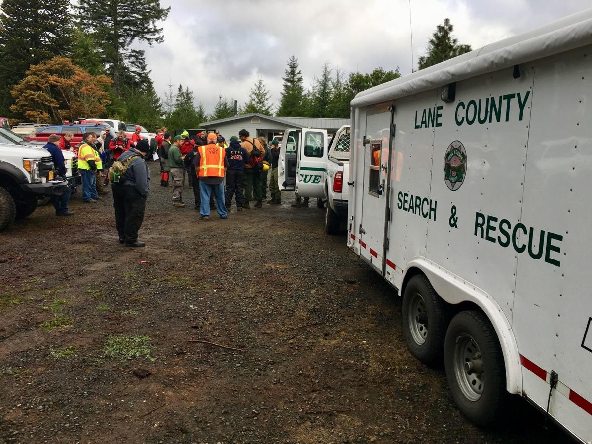 Lane County Search and Rescue at the staging area for the searchon West Catching