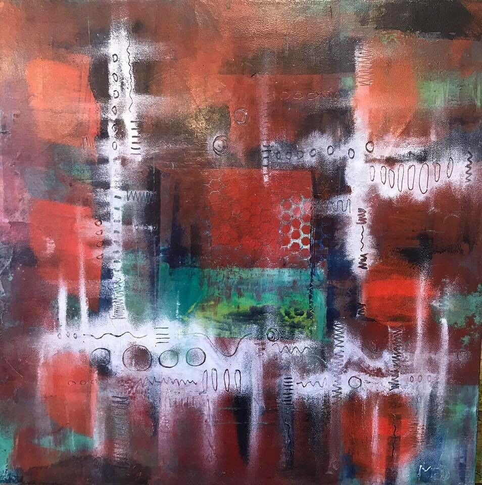 Elaine Dunham oil and wax abstract art.