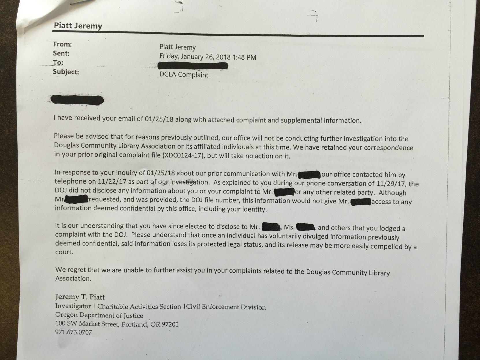 resignation letter samples with reason%0A Volunteer Library Coordinator Tatiana Resetnikov resigns   News    theworldlink com
