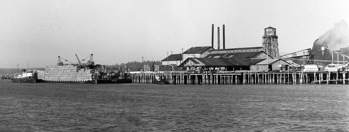 big barge (Pacific) load of lumber from Moore Mill, March, 1958