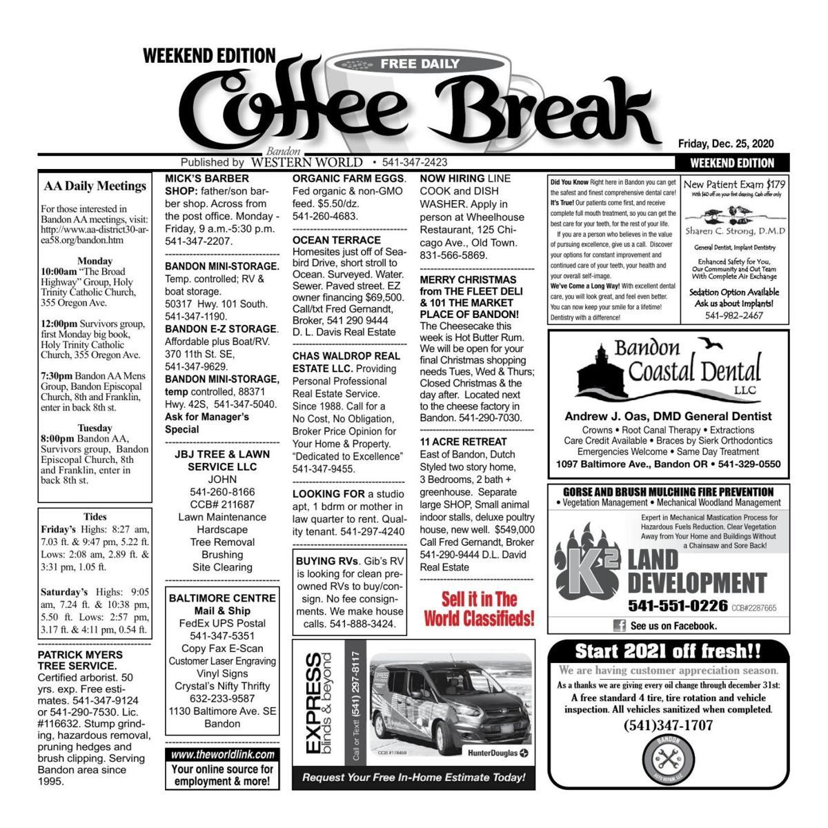 Dec. 25, 2020 Coffee Break