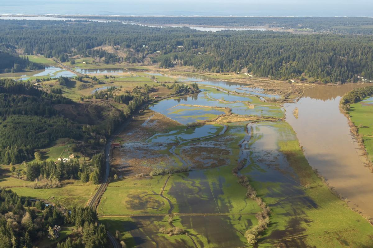 King tide in the Coquille River valley
