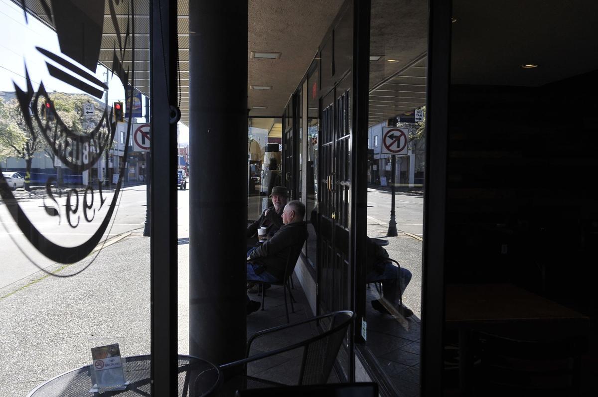 Customers sit outside Kaffe 101 over weekend