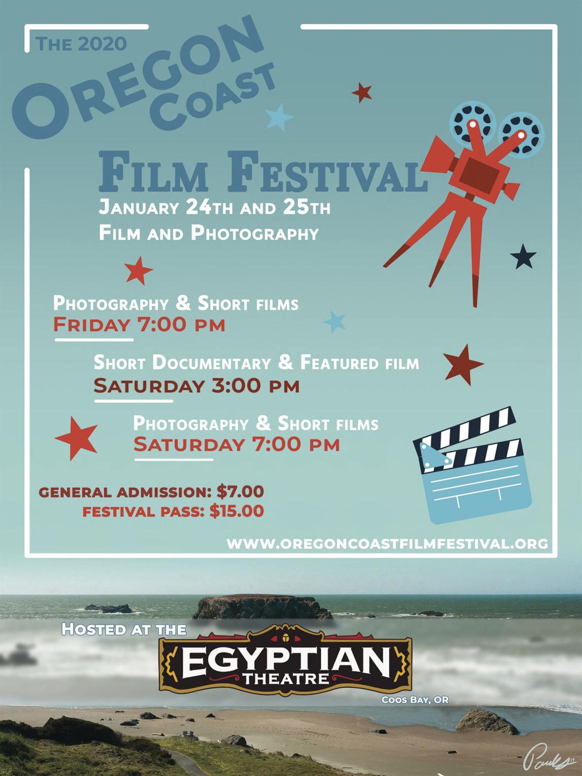 Oregon Coast Film Festival poster by Brandon Parks, 2019 BHS