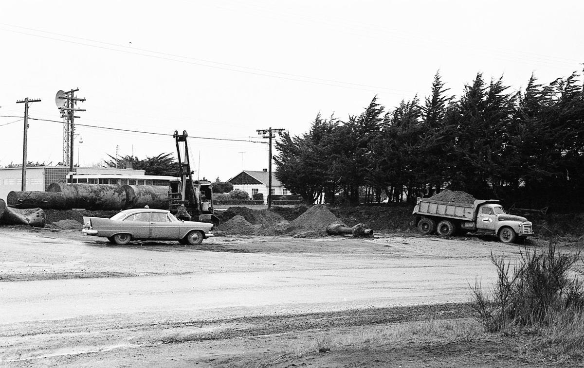 Excavating for Golden Eagle gas station, Jan. 1960, Highway 101 and Oregon Avenue (site of present Chevron station)