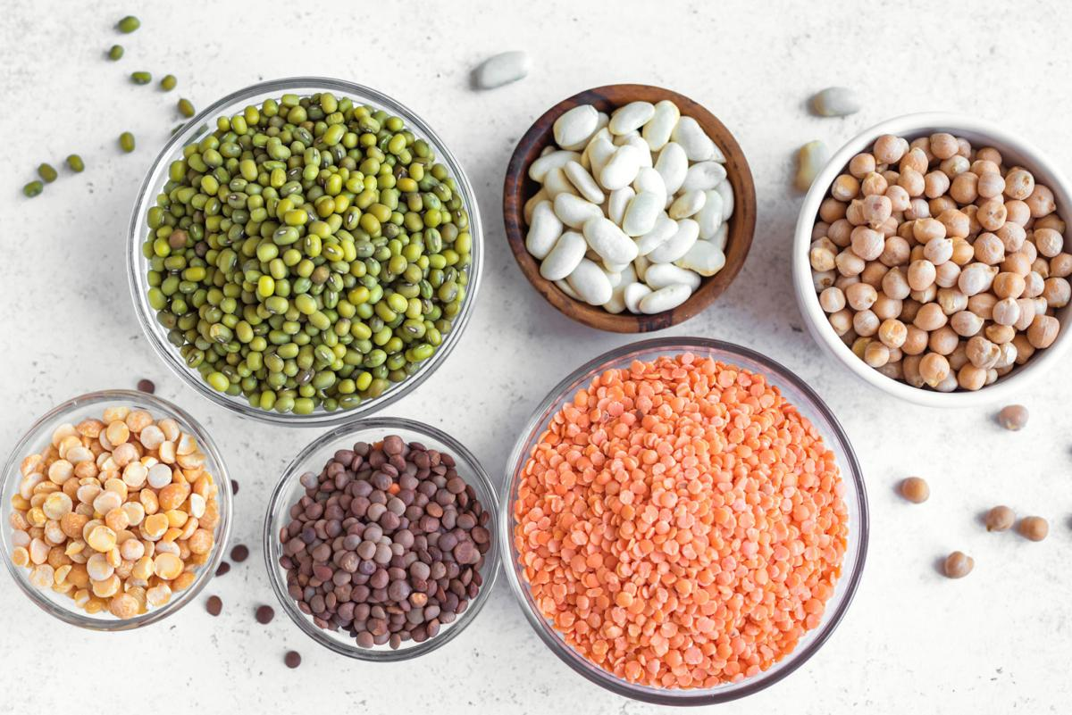 Assortment of colorful legumes beans