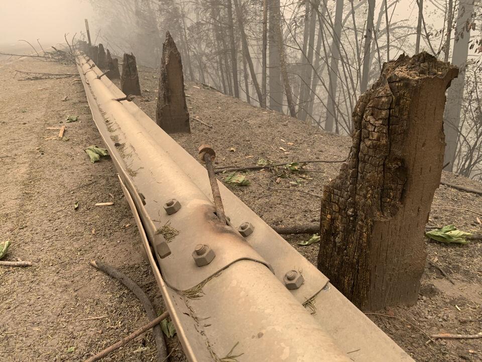 Oregon wildfires - guardrail