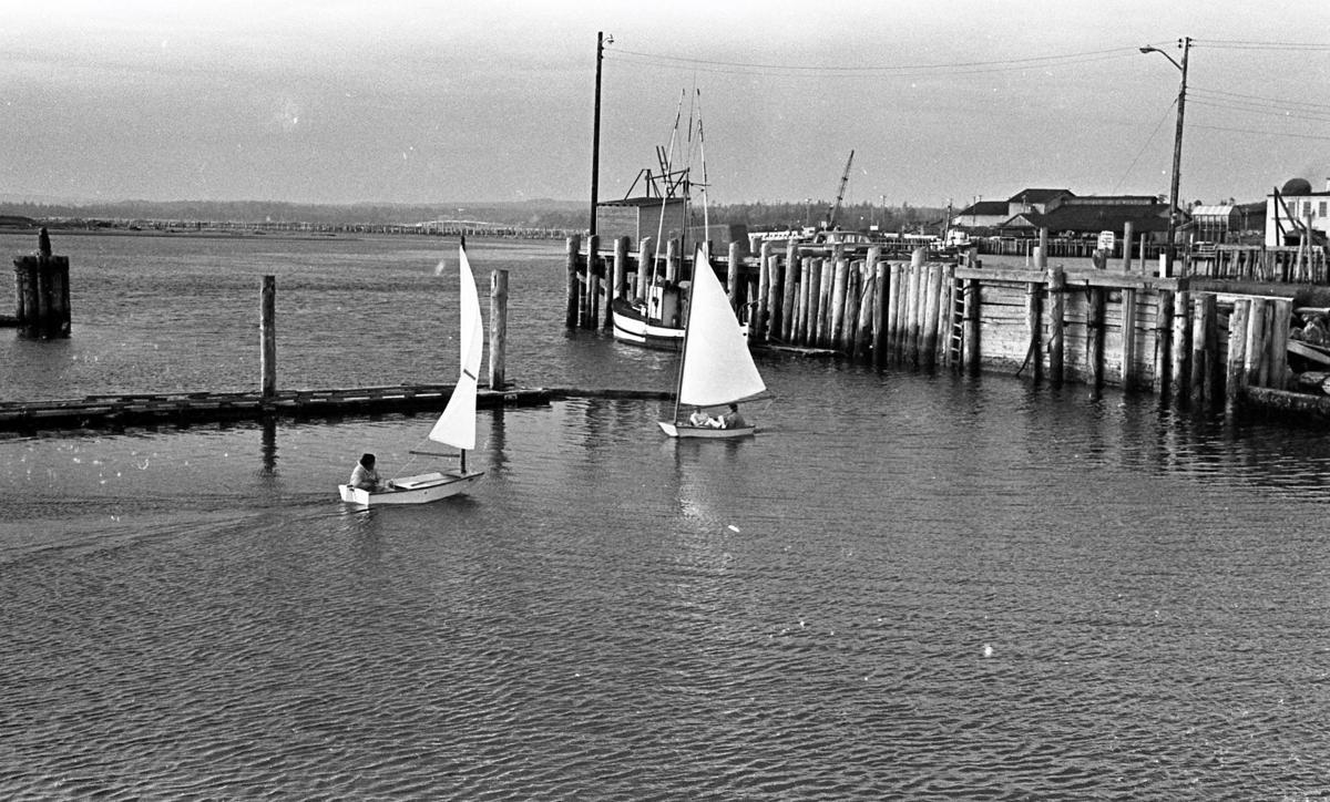 Sailboats in Bandon boat basin, 1966