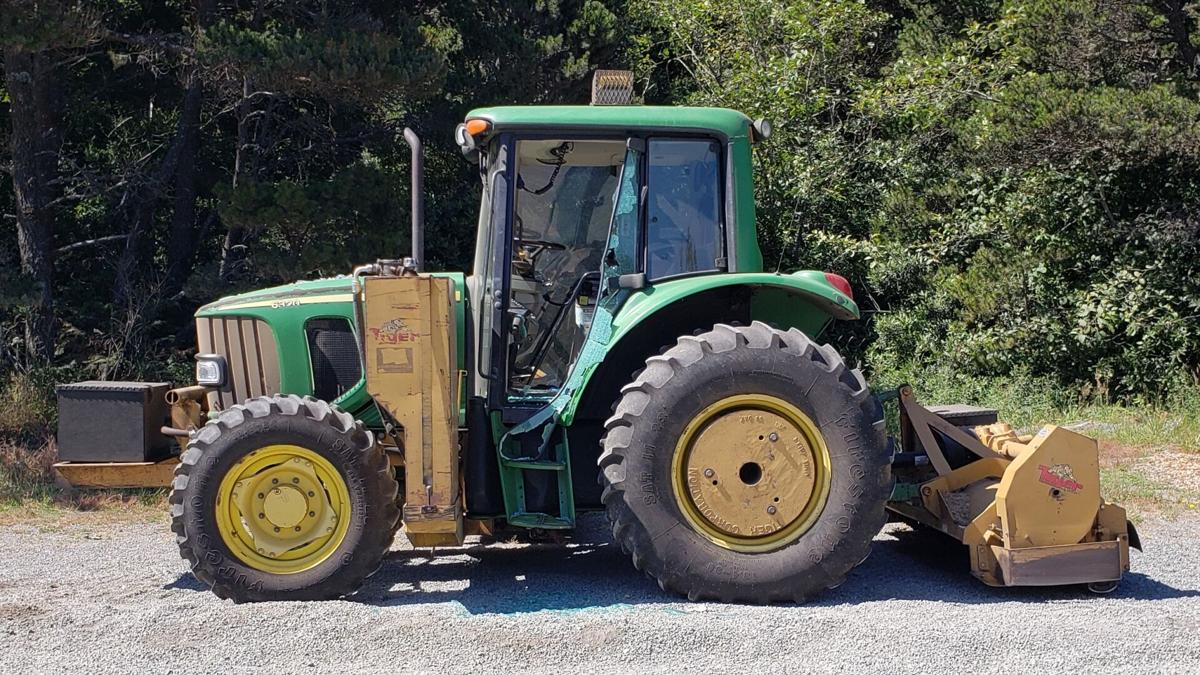 ODOT tractor damaged at Highway 101 and Edson Creek Road