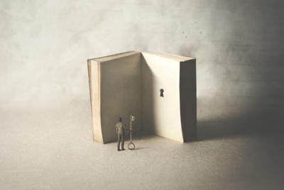 key in a book, surreal concept big book key