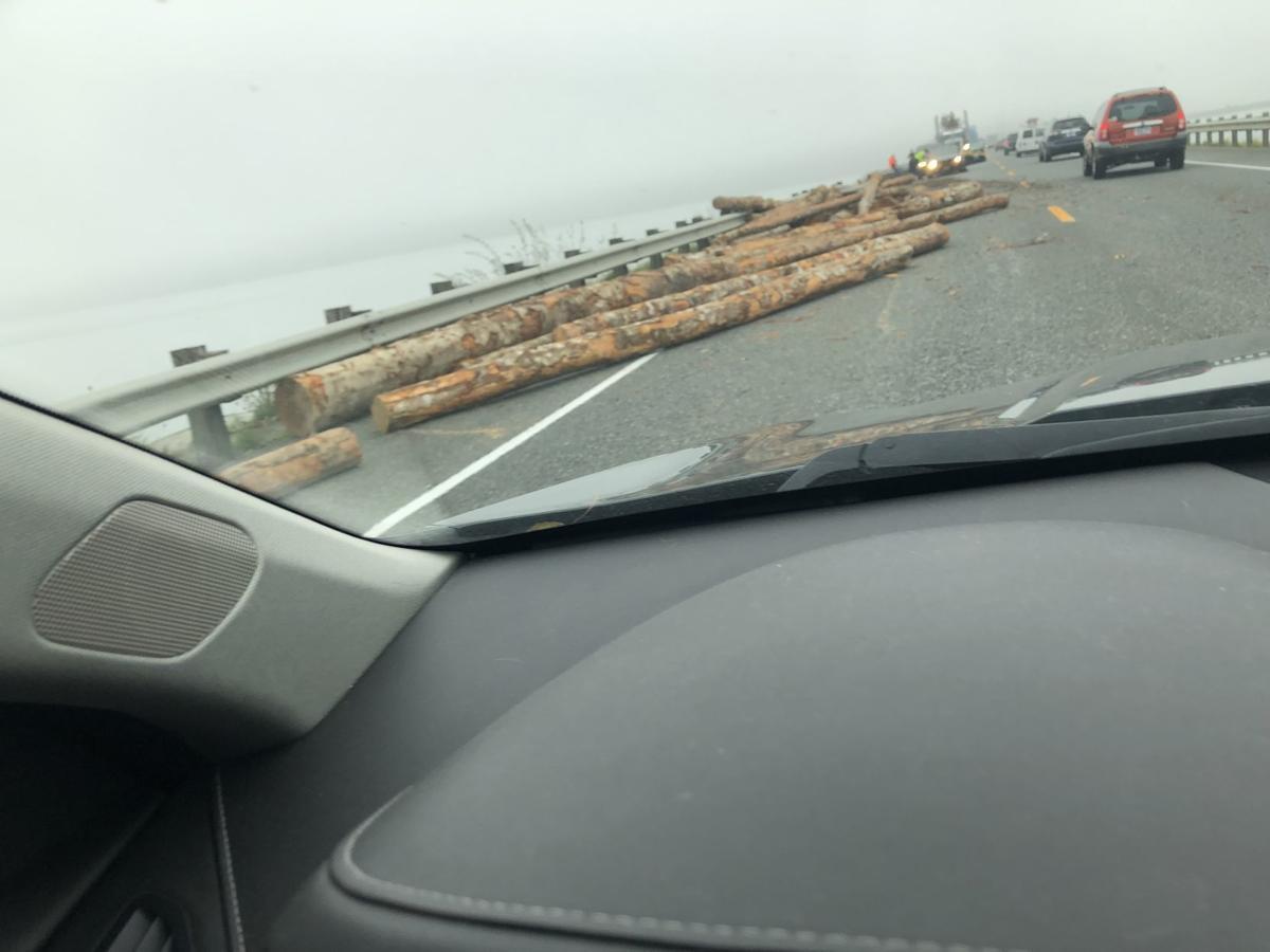 Log truck crash U.S. Highway 101
