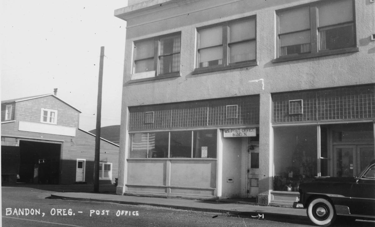 The Bandon post office in the Stephen building after the Fire of 1936.