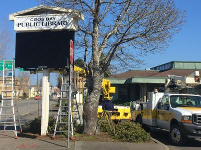 Coos Bay Public Library upgrades sign