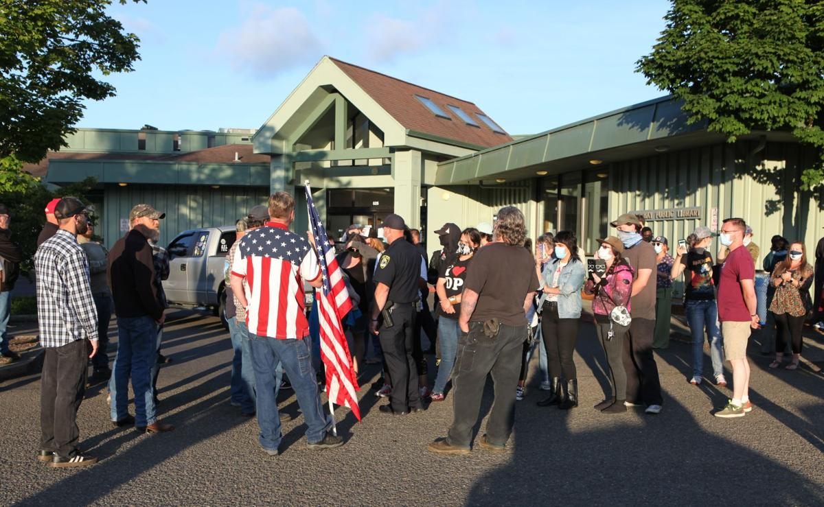 Clash outside Coos Bay Public Library