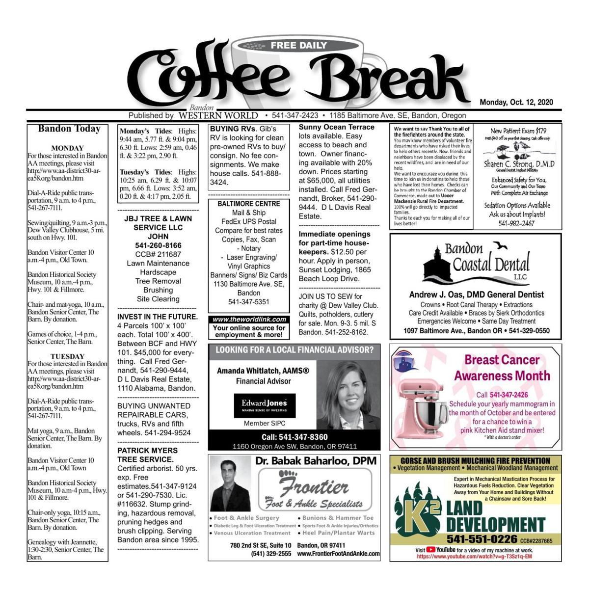 Oct. 12, 2020 Coffee Break
