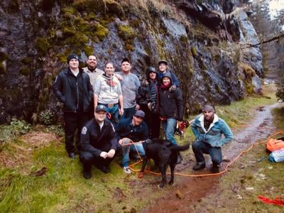 dog saved at golden and silver falls