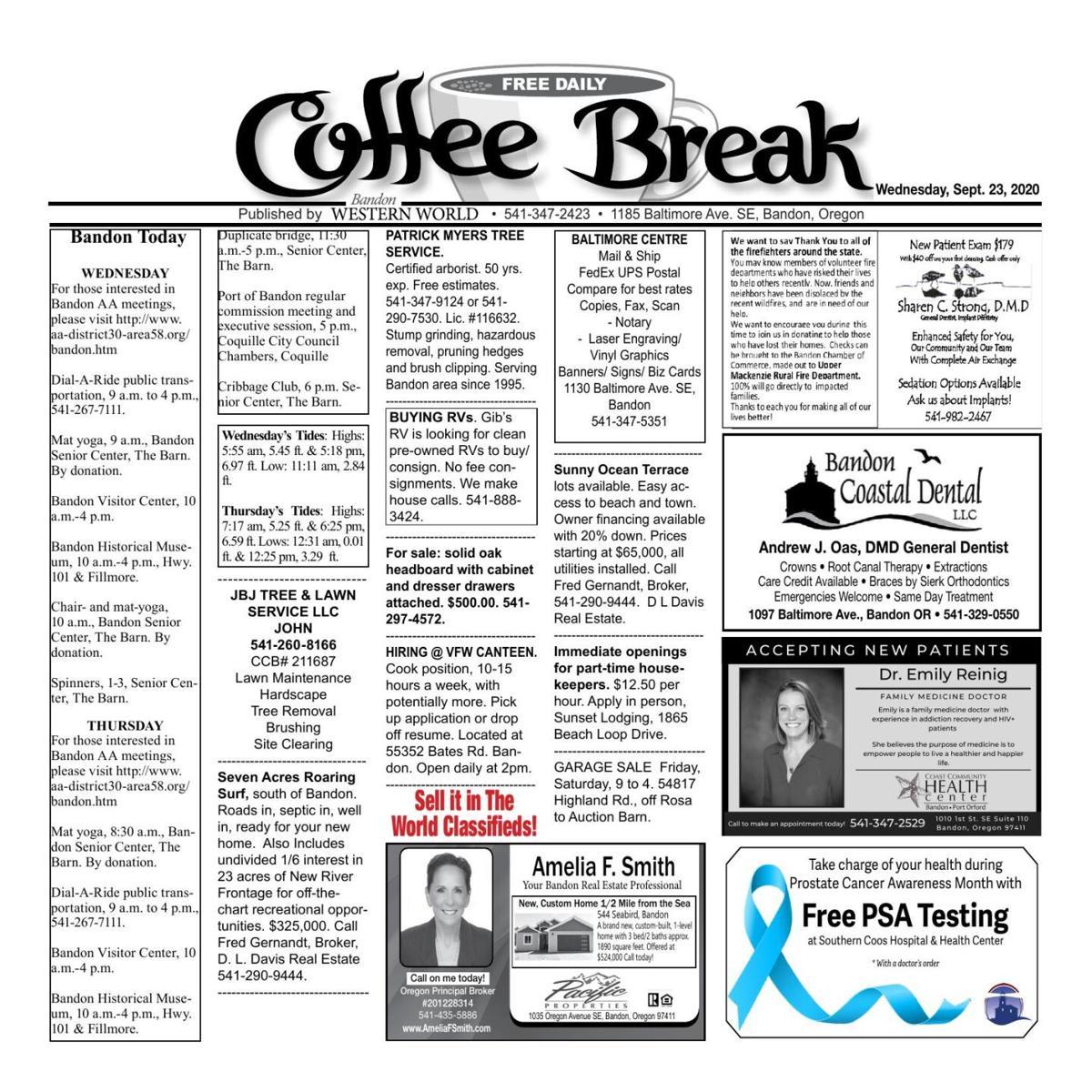 Sept. 23, 2020 Coffee Break