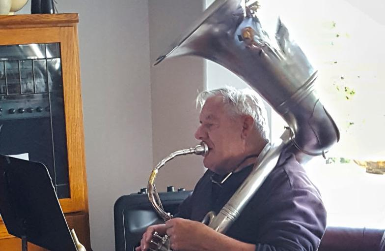 Gary Barker with Buddy Hayes' sousaphone
