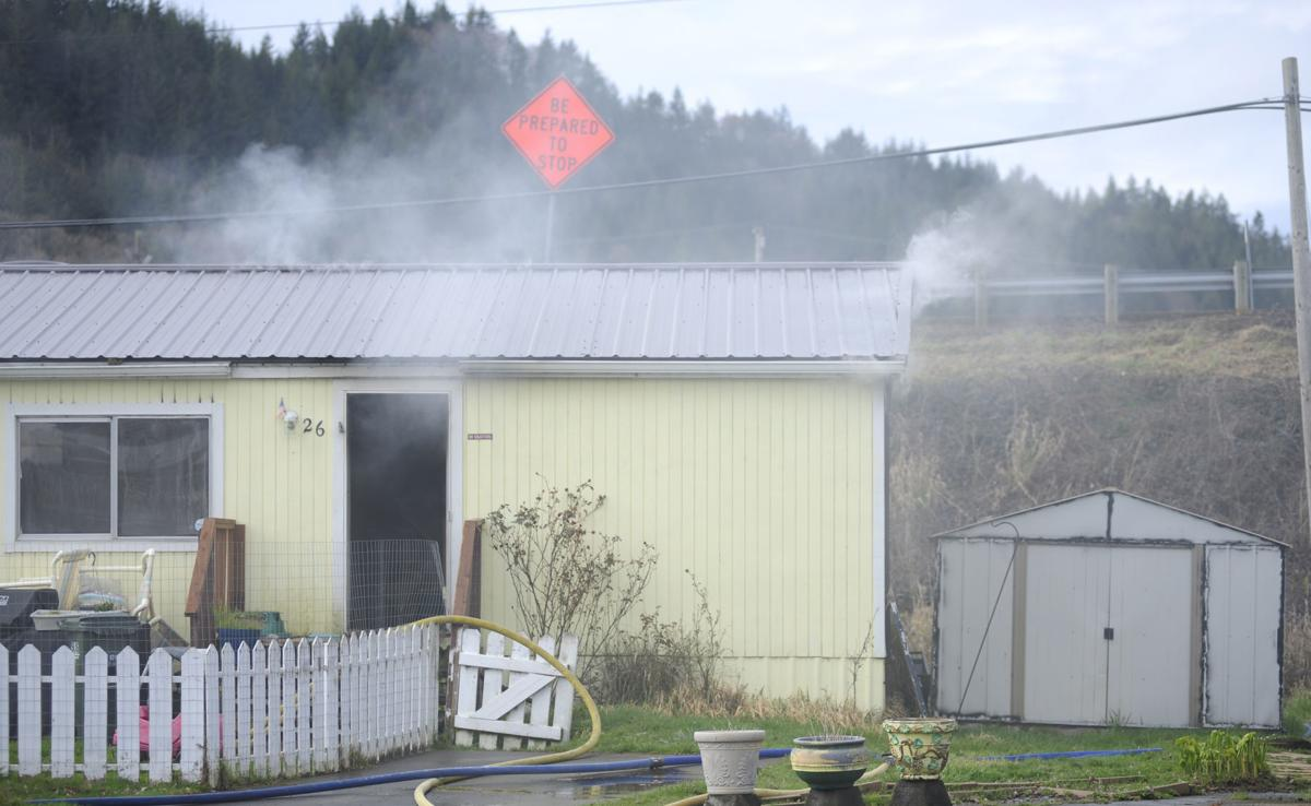 Mobile home fire in Holly Knolls