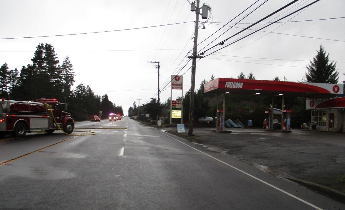 Vehicle veers off U S  Highway 101 crashing into propane tank