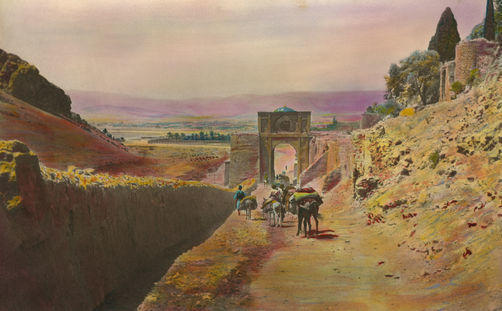 Harold F Weston's painting of the Gate of Shiraz