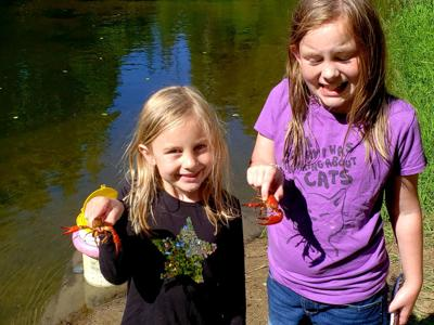 Olivia and Abigail crawfish