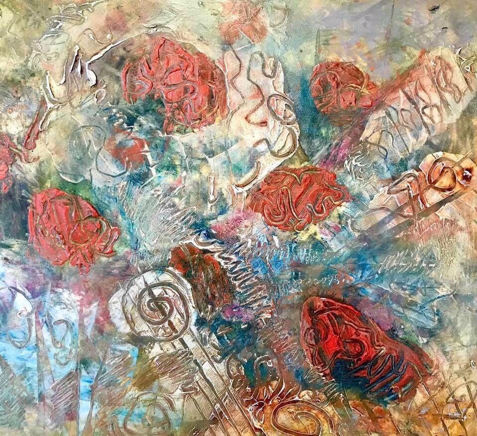 Elaine Dunham abstract art oil and wax