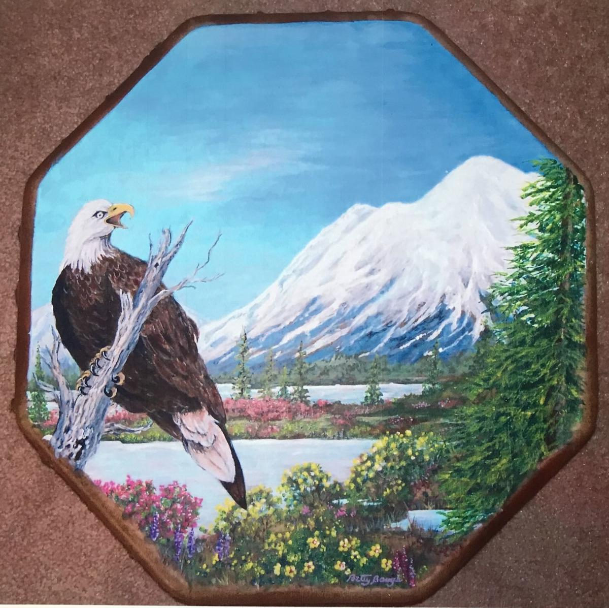 Betty Bangs', Bald Eagle, snow capped mountain drum