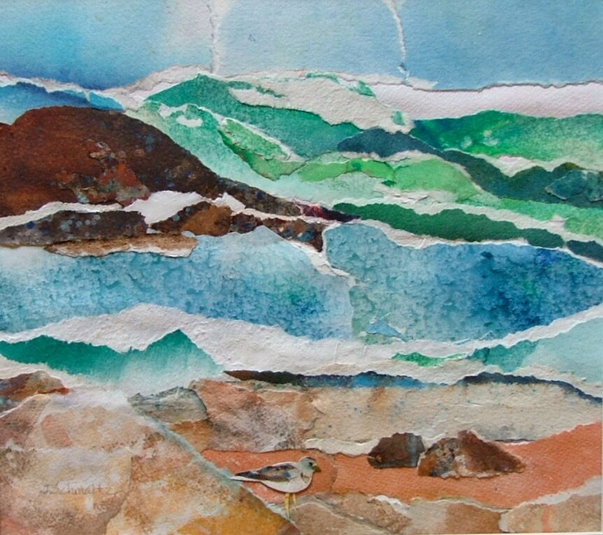 'On the Shore' watercolor collage by Jane Schmaltz