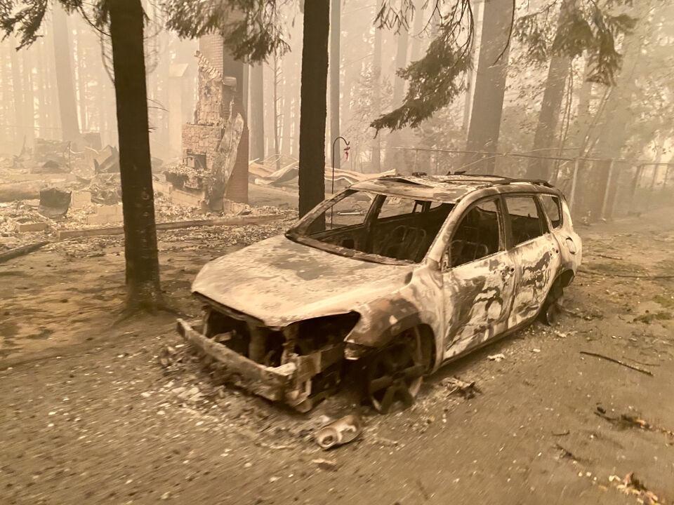 Oregon wildfires - burned car
