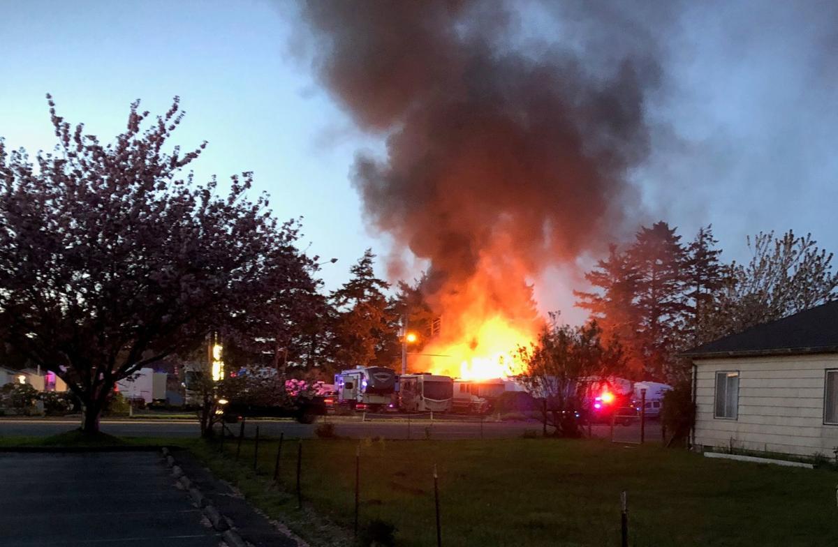 Fire destroys fifth wheel trailer at Bandon RV Park