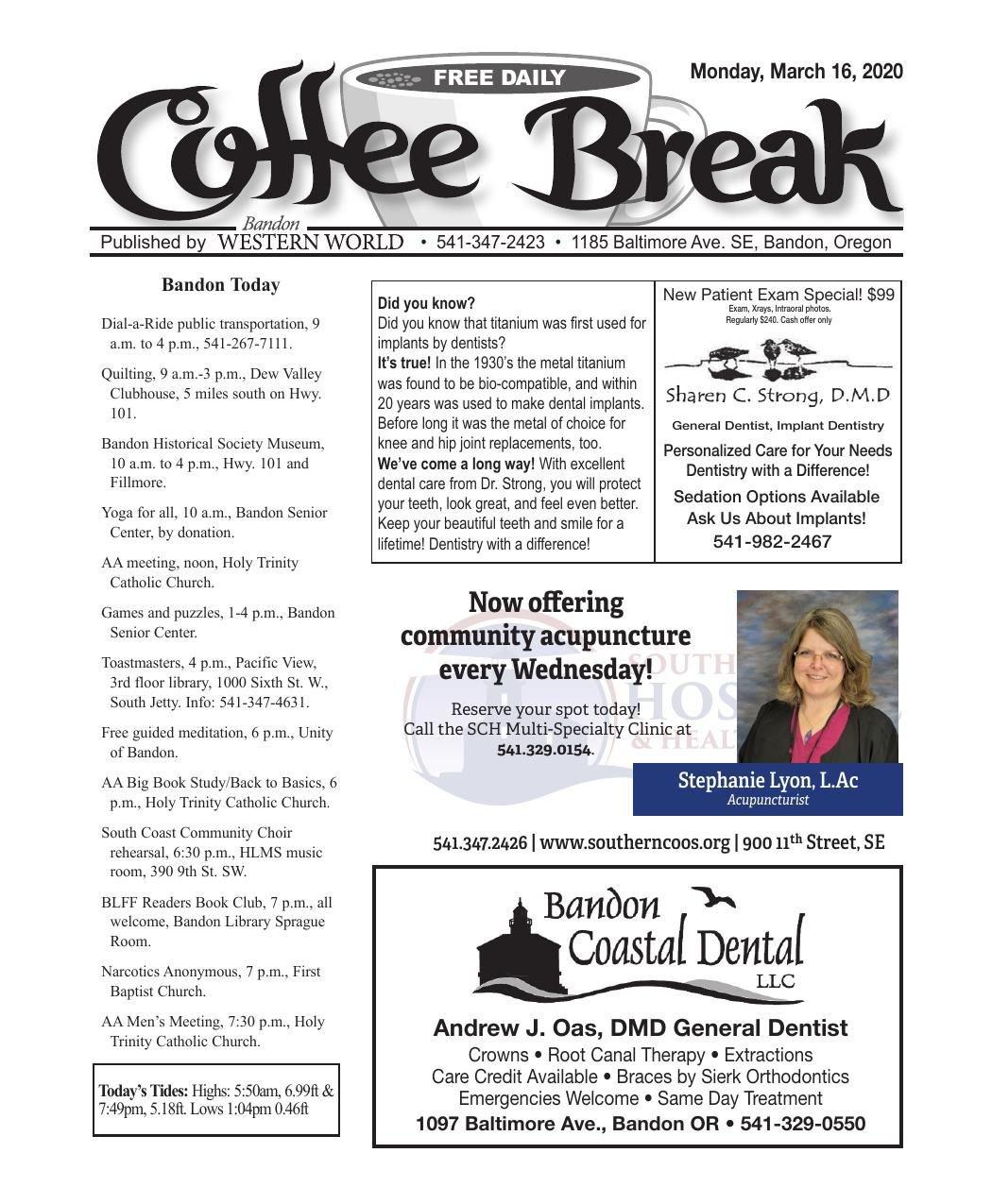 March 14, 2020 Coffee Break