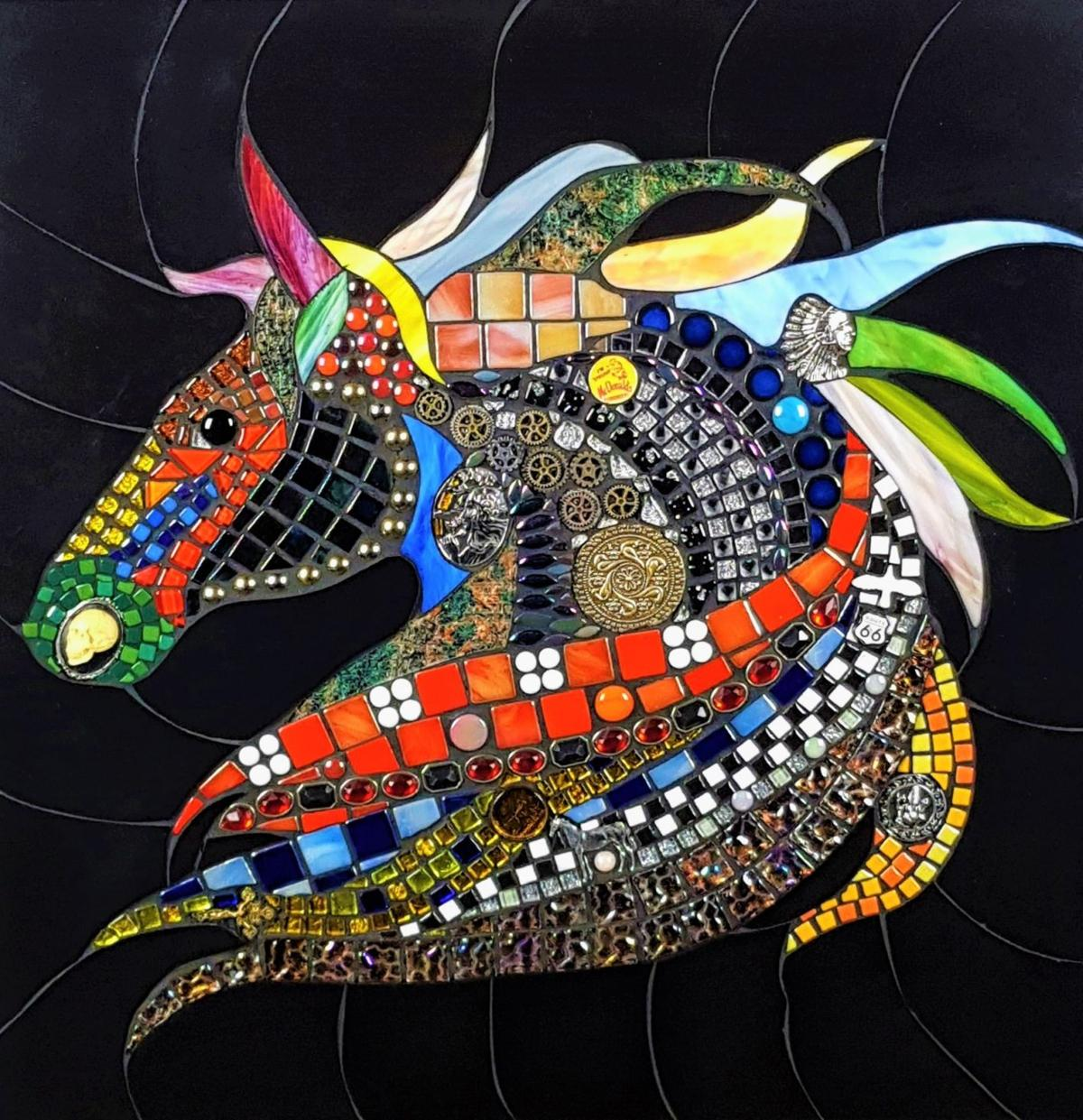 Bandon Art Gallery Mosaic Show 2020 - 'Crazy Horse' by Tony Welch