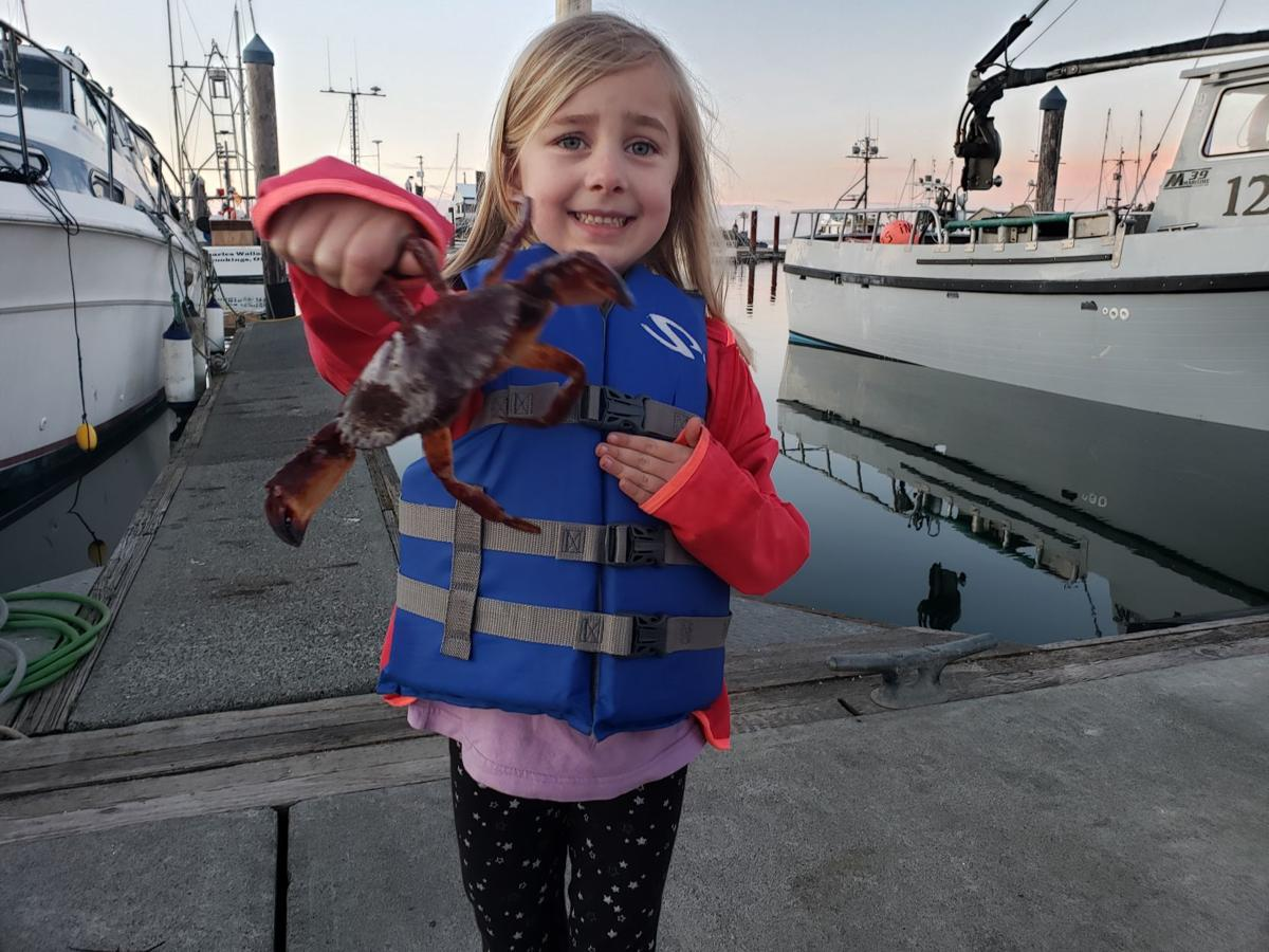 Livie with red rock crab