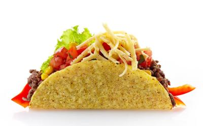 Mexican food Taco on a white background