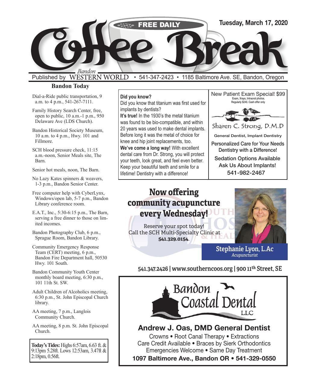 March 17, 2020 Coffee Break