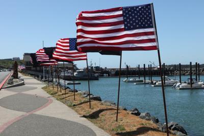 Memorial Day weekend 2018 - flags at Bandon boat basin