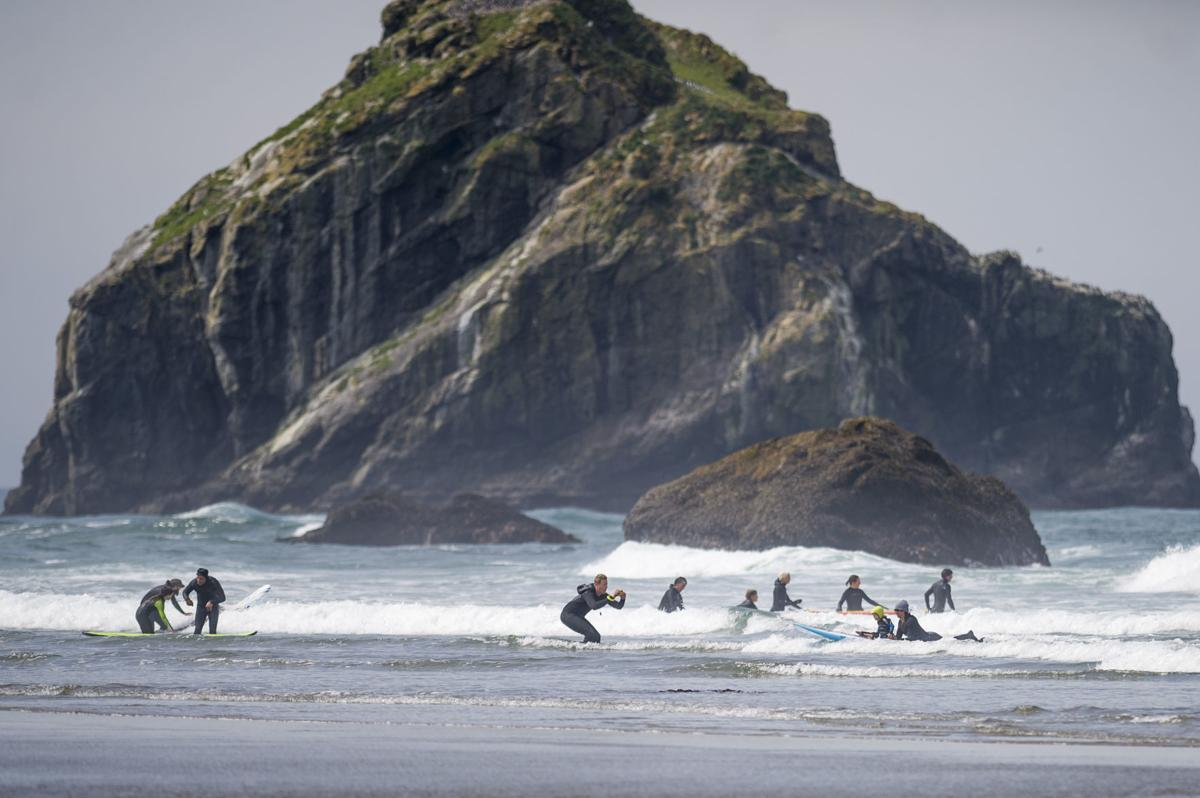 Surf Camp with Face Rock in background