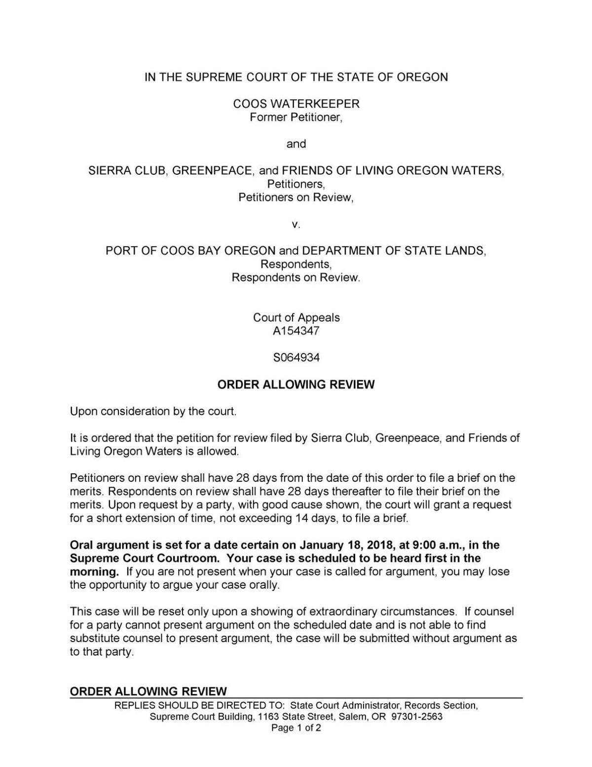 Supreme Court of Oregon order allowing review